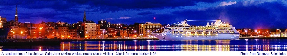 Small portion of Uptown Saint John with a cruise ship visiting - Click for more tourism info